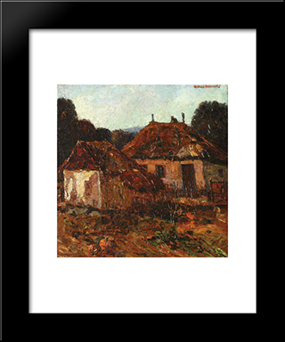 Countryside Houses: Modern Black Framed Art Print by Octav Bancila