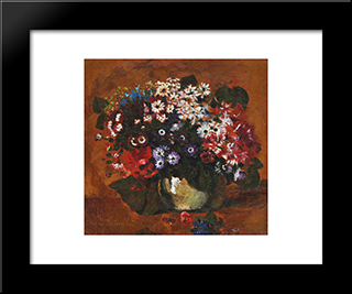 Field Flowers: Modern Black Framed Art Print by Octav Bancila