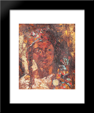Gipsy Woman: Modern Black Framed Art Print by Octav Bancila