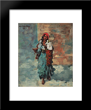 Gypsy Woman With Red Headscarf: Modern Black Framed Art Print by Octav Bancila