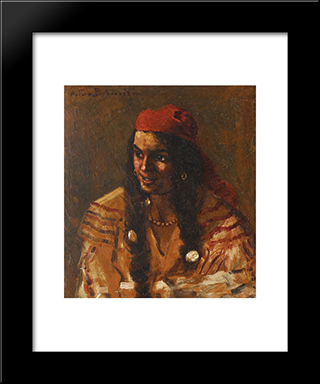 Gypsy Woman With Red Scarf: Modern Black Framed Art Print by Octav Bancila