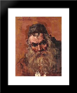 Jewish Portrait: Modern Black Framed Art Print by Octav Bancila