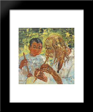 Music Lesson: Modern Black Framed Art Print by Octav Bancila