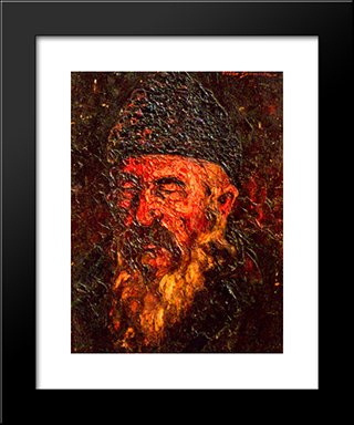 Old Man: Modern Black Framed Art Print by Octav Bancila