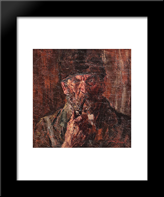 Peasant With Pipe: Modern Black Framed Art Print by Octav Bancila