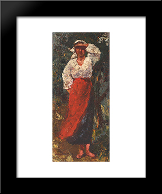 Peasant Woman: Modern Black Framed Art Print by Octav Bancila