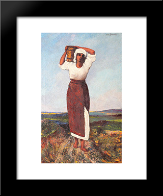 Peasant Woman With A Jar: Modern Black Framed Art Print by Octav Bancila