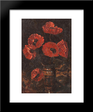 Poppies: Modern Black Framed Art Print by Octav Bancila