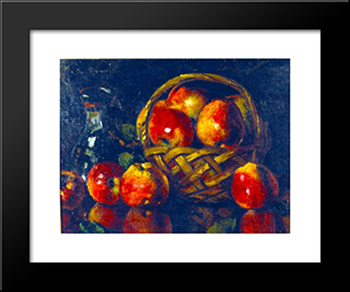 Still Life With Apples: Modern Black Framed Art Print by Octav Bancila