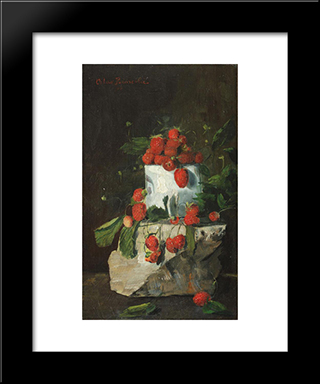 Strawberries: Modern Black Framed Art Print by Octav Bancila