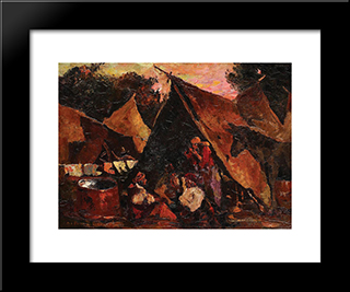 The Gipsy Tent: Modern Black Framed Art Print by Octav Bancila
