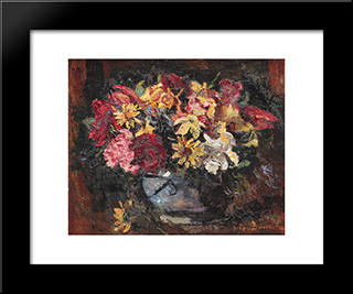 Vase With Field Flowers: Modern Black Framed Art Print by Octav Bancila