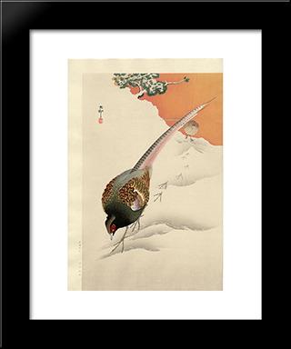 A Pair Of Pheasants In The Snow: Modern Black Framed Art Print by Ohara Koson