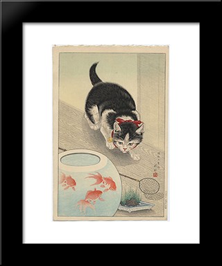 Cat And Bowl Of Goldfish: Modern Black Framed Art Print by Ohara Koson