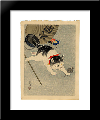 Cat Catching A Mouse: Modern Black Framed Art Print by Ohara Koson