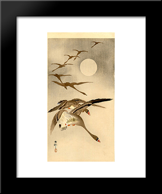 Eight White-Fronted Geese In Flight; Full Moon Behind: Modern Black Framed Art Print by Ohara Koson