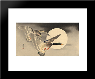 Geese In Flight Before A Full Moon: Modern Black Framed Art Print by Ohara Koson