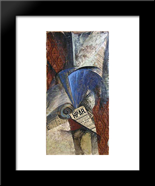 A Blue Fan: Modern Black Framed Art Print by Olga Rozanova
