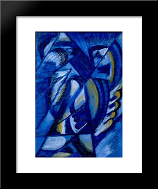 Blue On Tin: Modern Black Framed Art Print by Olga Rozanova