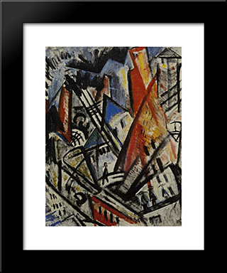 City: Modern Black Framed Art Print by Olga Rozanova
