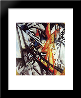 City On Fire: Modern Black Framed Art Print by Olga Rozanova