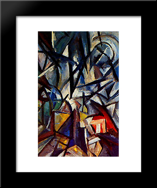 Disjunction Of Forms: Modern Black Framed Art Print by Olga Rozanova
