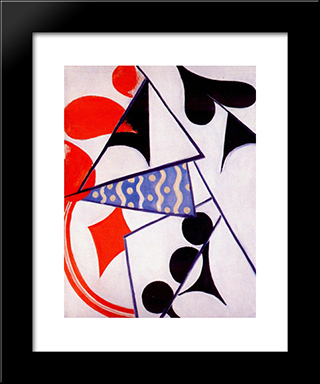 Four Aces (Simultaneous Composition): Modern Black Framed Art Print by Olga Rozanova