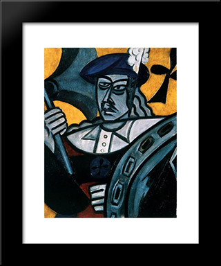 Jack Of Clubs: Modern Black Framed Art Print by Olga Rozanova