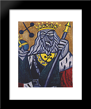 King Of Clubs: Modern Black Framed Art Print by Olga Rozanova