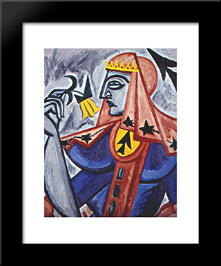 Queen Of Spades: Modern Black Framed Art Print by Olga Rozanova
