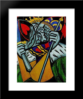 Simultaneous Representation Of A King Of Hearts And A King Of Diamonds: Modern Black Framed Art Print by Olga Rozanova