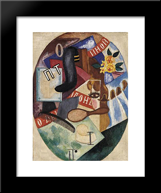 The Barbershop: Modern Black Framed Art Print by Olga Rozanova