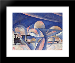 The Composition With The Train: Modern Black Framed Art Print by Olga Rozanova