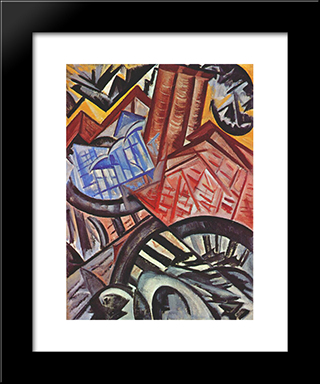 The Factory And The Bridge: Modern Black Framed Art Print by Olga Rozanova
