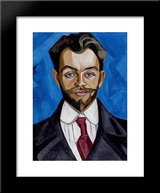 The Portrait Of A.Rozanov: Modern Black Framed Art Print by Olga Rozanova