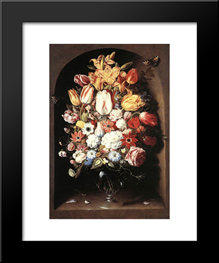 Bouquet In A Niche: Modern Black Framed Art Print by Osias Beert