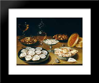 Dishes With Oysters, Fruit, And Wine: Modern Black Framed Art Print by Osias Beert