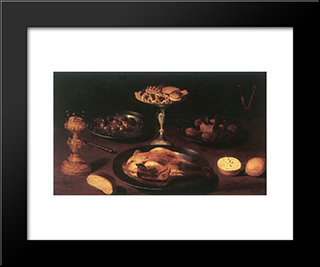 Still Life: Modern Black Framed Art Print by Osias Beert