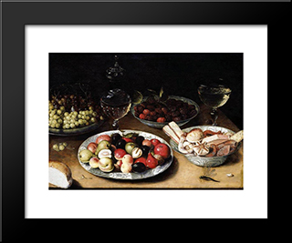 Still Life Of Fruit: Modern Black Framed Art Print by Osias Beert