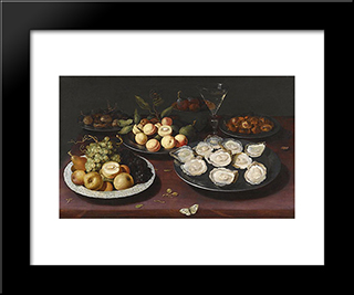 Still Life Of Fruit And A Plate Of Oysters: Modern Black Framed Art Print by Osias Beert