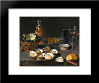 Still Life With Artichokes: Modern Black Framed Art Print by Osias Beert