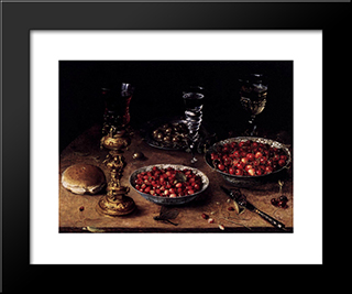 Still Life With Cherries And Strawberries In China Bowls: Modern Black Framed Art Print by Osias Beert