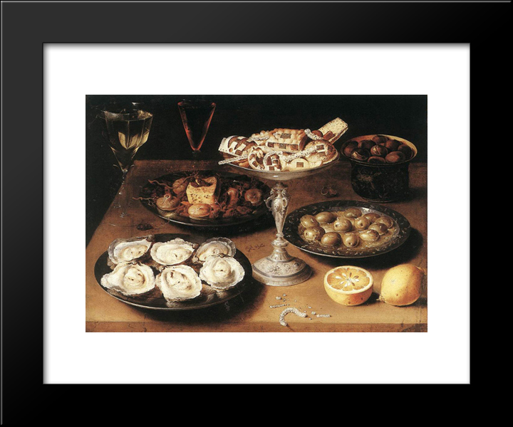 Still Life With Oysters And Pastries: Modern Black Framed Art Print by Osias Beert