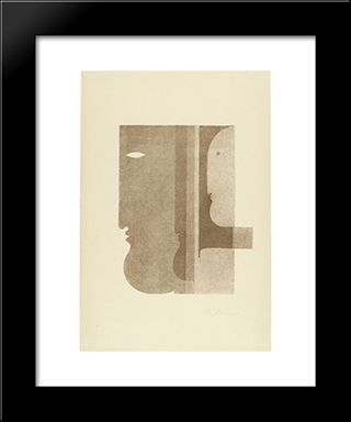 Two Profiles To The Left, One To The Right (Zwei Profile Nach Links, Eines Nach Rechts): Modern Black Framed Art Print by Oskar Schlemmer