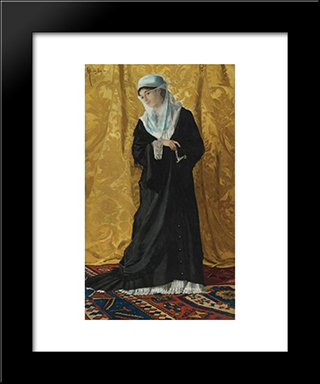 A Lady Of Constantinople: Modern Black Framed Art Print by Osman Hamdi