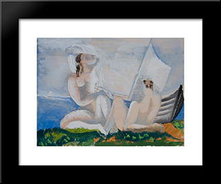 At The Water'S Edge: Custom Black Wood Framed Art Print by Ossip Zadkine