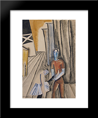 Backstage At The Casino De Paris: Custom Black Wood Framed Art Print by Ossip Zadkine