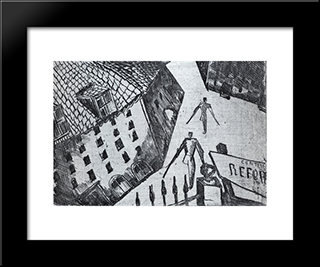 Barracks Clignancourt: Custom Black Wood Framed Art Print by Ossip Zadkine