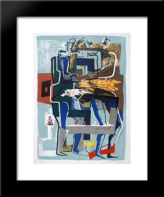 Conversation: Modern Black Framed Art Print by Ossip Zadkine