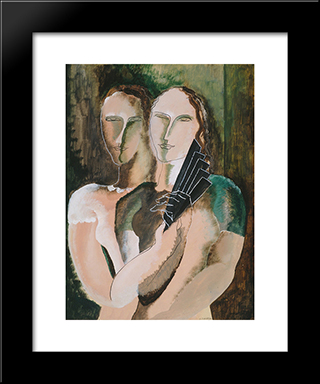 Couple To The Range: Custom Black Wood Framed Art Print by Ossip Zadkine